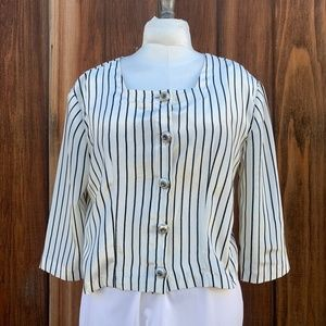 Tops - 1990s Cropped Black & White Blouse